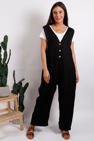 Button Front Jumpsuit Black