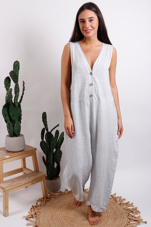 Button Front Jumpsuit Dove