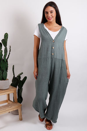 Button Front Jumpsuit Khaki