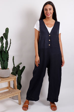 Button Front Jumpsuit Navy