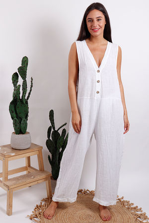 Button Front Jumpsuit White