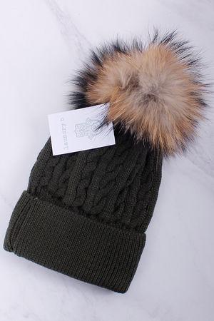 Cable Knit Bobble Hat Khaki