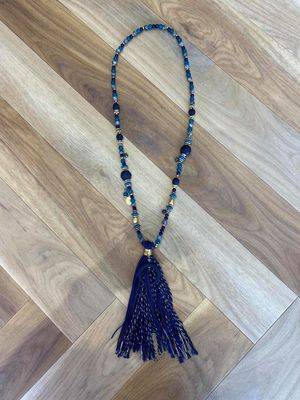 The Cairo Beaded Tassel Necklace Blues