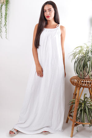 Calabasas Tie Shoulder Maxi White