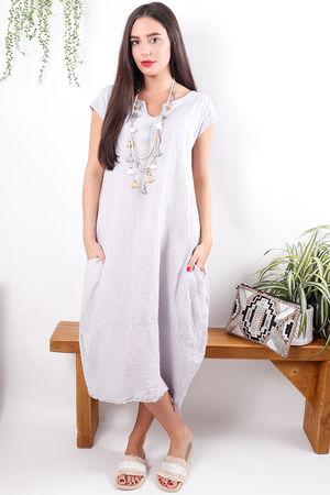 Cap Sleeve Shift Dress Lilac Grey