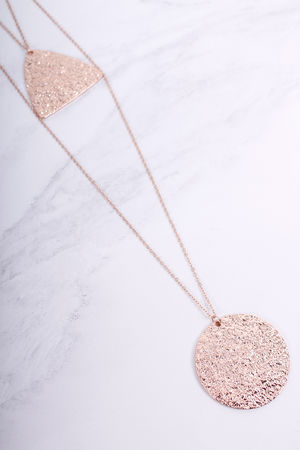Carmen Textured Two Row Necklace Rose Gold
