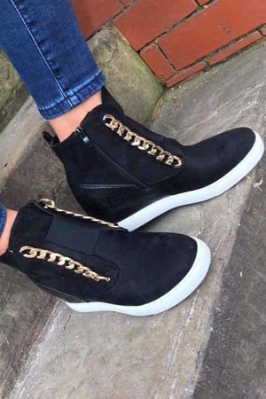 Chain Wedge High Top Black