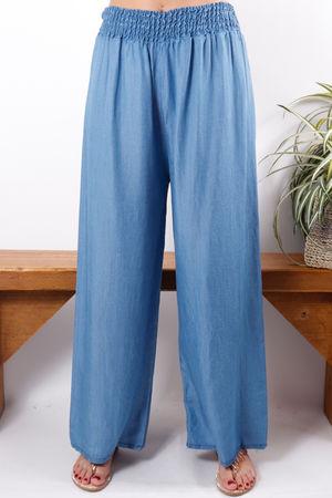 Chambray Wide Leg Trouser