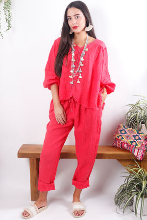 Cheesecloth Linen Peasant Blouse Strawberry Melon