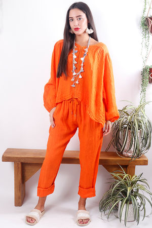 Cheesecloth Linen Peasant Blouse Tangerine