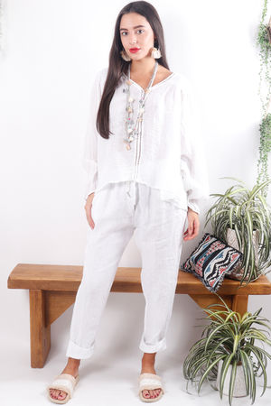 Cheesecloth Linen Peasant Blouse White