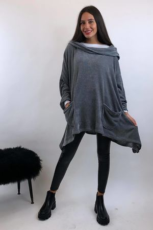 Chenille Dip Side Hoody Grey