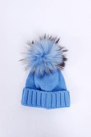 Childrens Fur Pom Pom Hat Blue