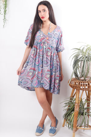Chloe Printed Baby Doll Tunic Dress Violet