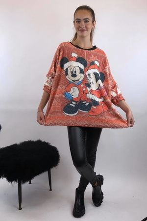 Christmas Mickey Oversized Boucle Top