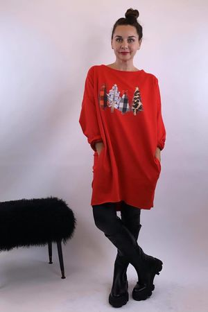 Christmas Tree Popoon Tunic Red