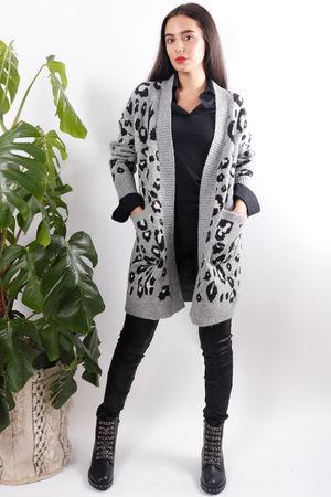 Chunky Leopard Cardigan Grey