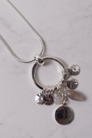 Circle Disc & Bead Necklace Silver