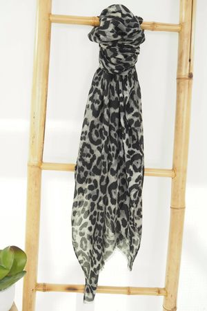 Classic Leopard Soft Touch Scarf Graphite