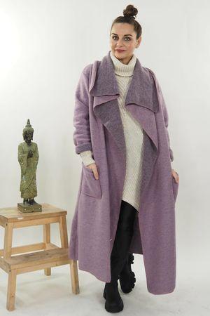 Classic Wool Coatigan Dirty Lilac