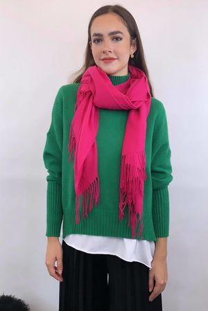 Classic Cashmere Fringe Scarf Hot Pink