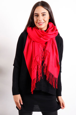 Classic Cashmere Fringe Scarf Red