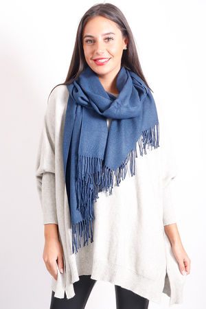 Classic Cashmere Fringe Scarf Saphire