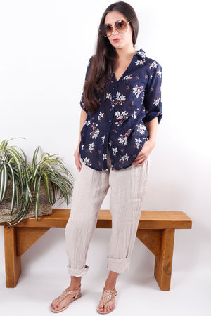 Classic Floral Shirt Navy
