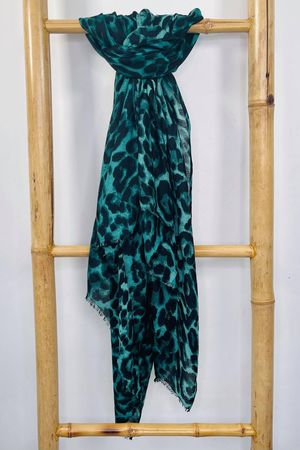 Classic Leopard Soft Touch Scarf Jade