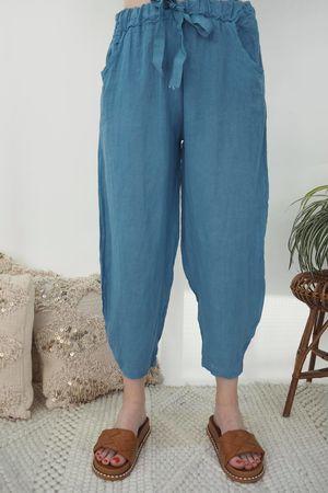 Classic Linen Cocoon Pant Denim