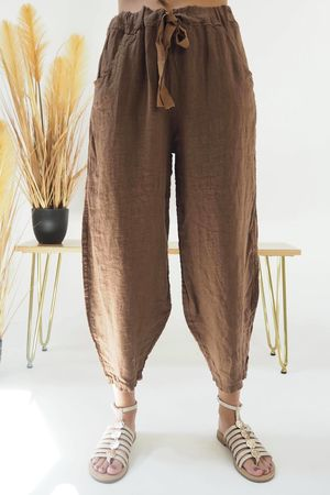 Classic Linen Cocoon Pant Tobacco