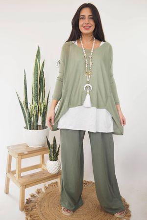 Classic Lux Fine Knit Khaki