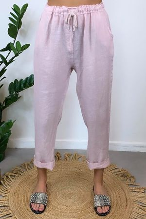 Classic Made In Italy Linen Pant Blush