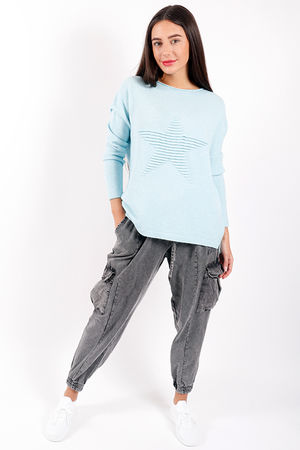 Made In Italy Classic Ribbed Star Knit Aqua Sky