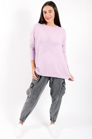 Made In Italy Classic Ribbed Star Knit Mauve Mist