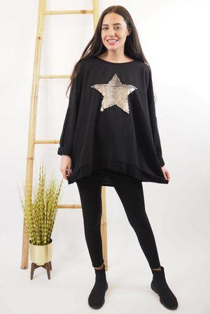Classic Sequin Star Sweat Black