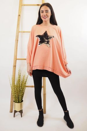 Classic Sequin Star Sweat Coral