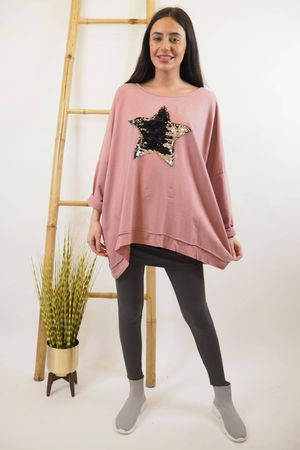 Classic Sequin Star Sweat Indian Pink
