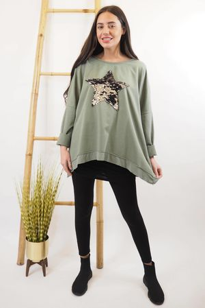 Classic Sequin Star Sweat Khaki