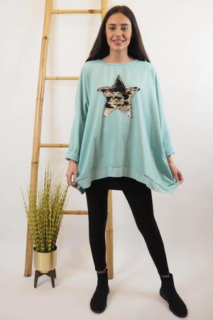 Classic Sequin Star Sweat Mint