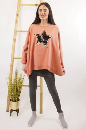 Classic Sequin Star Sweat Soft Terracotta