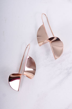 Claudette Twisted Metal Pull Through Earrings Rose Gold