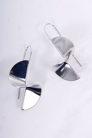 Claudette Twisted Metal Pull Through Earrings Silver