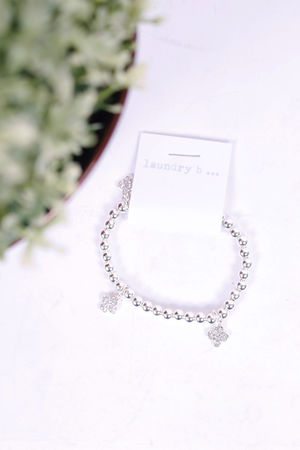 Cleef Diamante Beaded Bracelet Silver