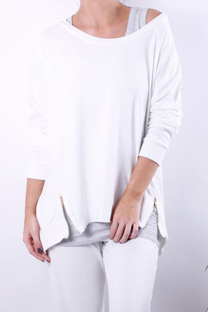 Cleo Loopback Zip Sweat Vanilla