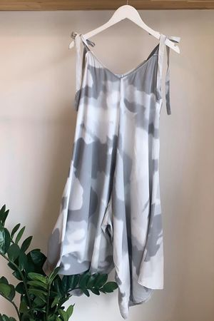 Cloud Tie Shoulder Jumpsuit Greys