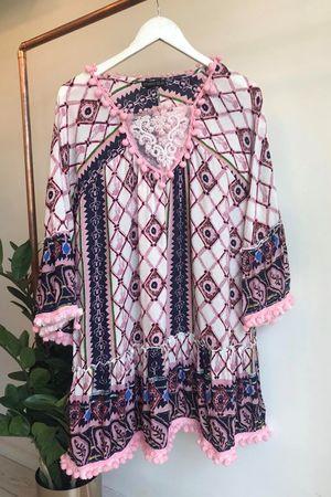 Coachella Trellis Pom Pom Flare Dress