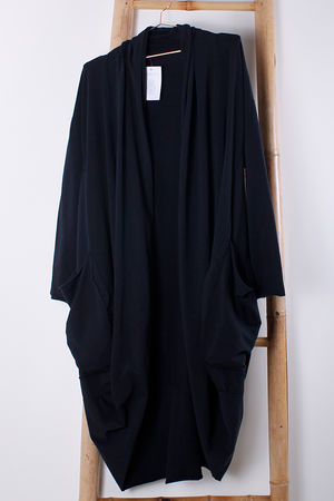 Cocoon Pocketed Long Cardigan Black
