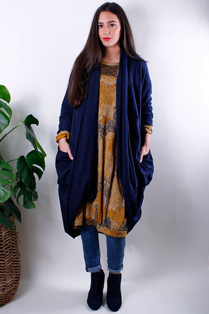 Cocoon Pocketed Long Cardigan Navy