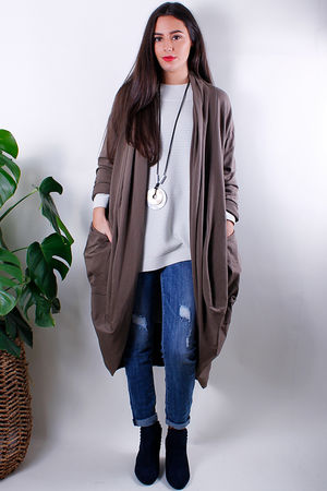 Cocoon Pocketed Long Cardigan Taupe